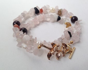 Lovebirds Bracelet - Rose Quartz and Garnet Amulet for Love