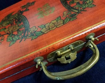 V Vintage Asian Lacquer Box Solid Wood Brass Hardware Decal Decoupage