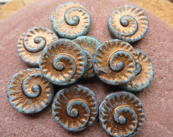 DENIM BLUE Fern Fossil 17mm with Bronze Copper Wash ( Choose Quantity:  2 Bead Sample -or-  6 Beads ) entire order ships for Flat Rate