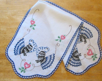 Vintage Table Runner, Dresser Scarf, Blue Fantail Pigeons, birds, Hand Embroidered, Hand Crocheted, 40 x 14""