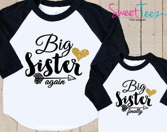 Big Sister Shirt Set Big Sister Again Big Sister Finally Shirt Set Pregnancy Announcement Shirt Big Sister Gifts