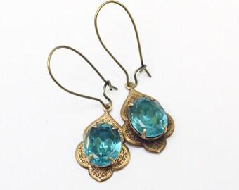 Crystal brass earrings Moroccan ornate aqua blue gem belly dancer jewel dangle bronze topaz blue