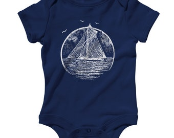 Baby Vintage Sailboat Romper - Infant One Piece - NB 6m 12m 18m 24m - Sailboat Gift, Sailing Baby, Boat Baby, Sails Baby, Sailor Baby, Navy