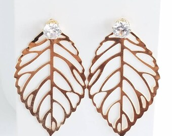 Earrings - shiny golden plated - lightweight - cubic zirconia post earrings - golden color leaf