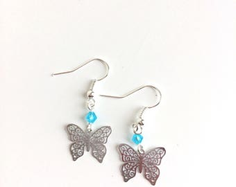 Butterflies and blue turquoise beads earrings