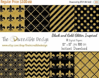 ON SALE Black and Gold Glitter Inspired digital paper pack for scrapbooking, Making Cards, Tags and Invitations, Instant Download