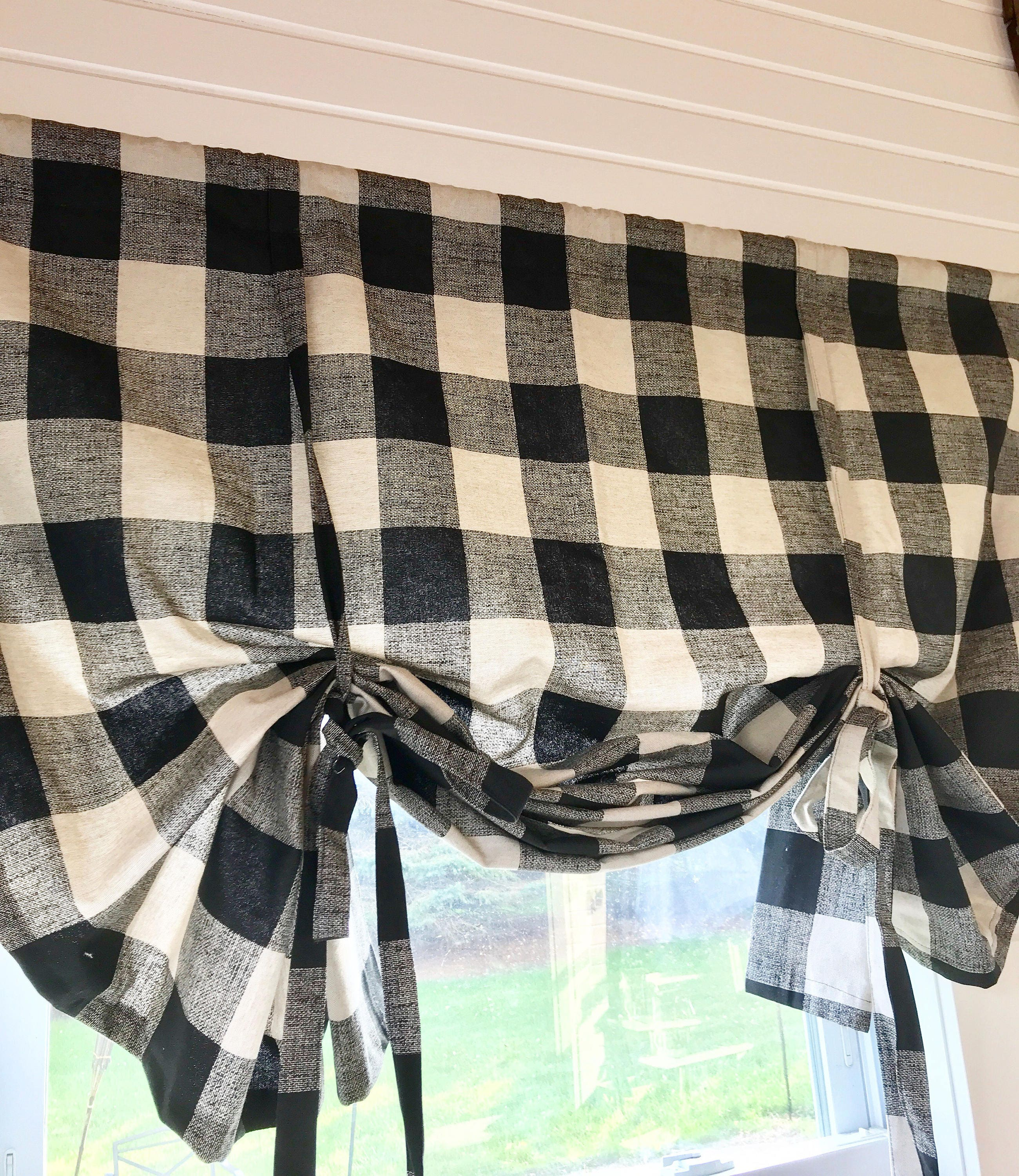 plaid country straight decoration kitchen curtains amish valances for burlap valance treatments curtain home adorable pennys window ideas blue gorgeous pr