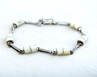Mother of Pearl Bracelet Size 7 Vintage Southwest Sterling Silver Chain Link White Stone Tennis Bracelet Gift for Her