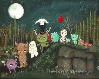 Monster Parade Print Monster Art Cute Nursery Childrens Dream Print