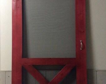 New- The Apex Quality Built Solid Wood Screen Doors Custom Made To Your Measurements - Rustic Modern Farmhouse - Barn Door Style Screen Door