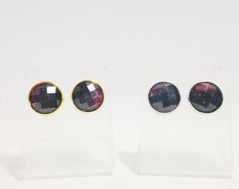 The Olivia Stud Earrings in Midnight Sky, Cosmos Earrings, Faceted Galaxy Stud Earrings, Cosmic Earrings, Galaxy Post Earrings,