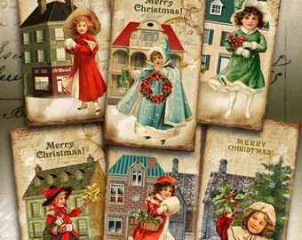 Printable Gift Tags CHRISTMAS JOY Digital Collage Sheet Download Vintage Images Paper goods Jewelry Holders Art Cult Greeting Cards, ArtCult