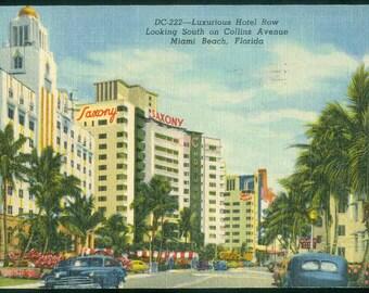 Miami Beach Florida 1950 Postcard Luxurious Hotel Row Collins Avenue