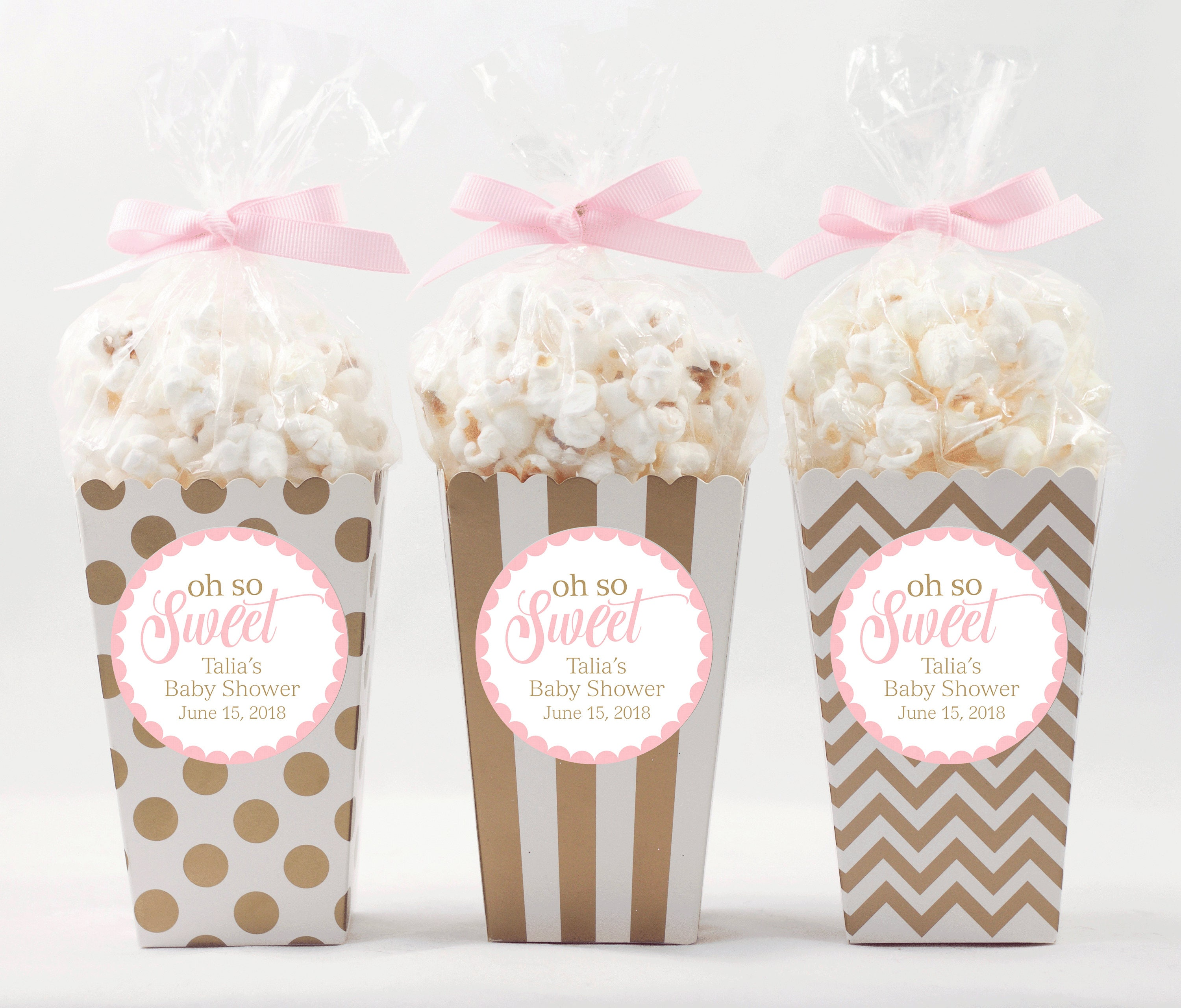 12 Custom Popcorn Box Favors Personalized Labels Baby