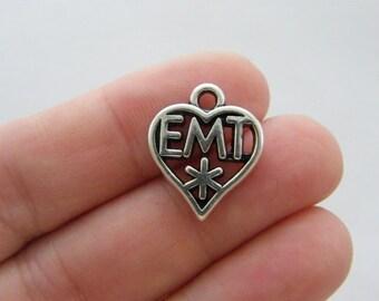 BULK 20 EMT heart charms antique silver tone MD50