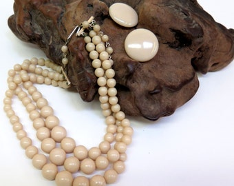 Choker Style Bead Necklace & Earring Set 3 Strand Vintage 70s Beige Bib Necklace