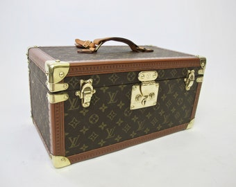 Vintage Louis Vuitton Train Case with Mirror and  Keys