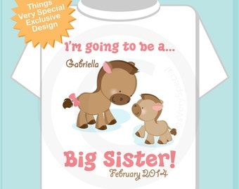 Personalized I'm Going to Be A Big Sister Horse Pony Shirt or Onesie with baby foal of any sex and Due date (06252013a)