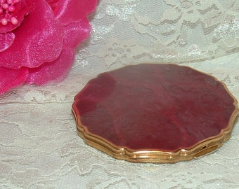 Shaklee Compact Burgundy/ Red Enamel and Gold tone with Mirror