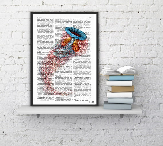 Vintage Book Print Dictionary or Encyclopedia Book print Jelly Fish IV Original  Vintage Design Print on Old Book art SEA100