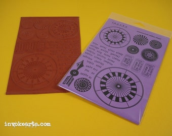 Spinner Kit / Invoke Arts Collage Rubber Stamps / Unmounted Stamp Set