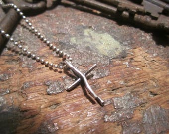 Smaller Handmade Rustic Sterling Silver Cross Necklace