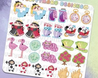 Alice Deco Sticker Set    Planner Stickers, Cute Stickers for Erin Condren (ECLP), Filofax, Kikki K, Etc.    DS02