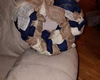 Simple neutral burlap wreath