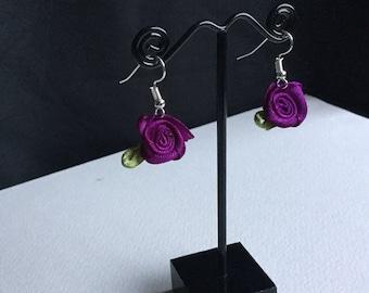 Purple and green rose earrings