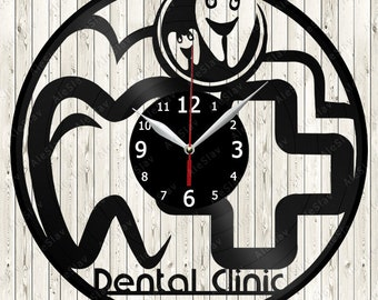 Dental Clinic Vinyl Record Wall Clock Handmade Art Decor Your Room Original Gift 1618