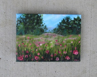 """Floral painting *~* field of poppies *~* 6x8""""  acrylic painting"""