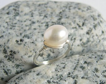 Oval Pearl Ring, Sterling Silver Ring, White Freshwater Pearl Jewelry, Custom Size, June Birthstone