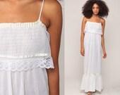 Sun Dress Boho White Cotton 70s Sundress SHEER Maxi Lace Vintage 1970s Bohemian Hippie Smock Summer High Waist Plain Spaghetti Small Medium