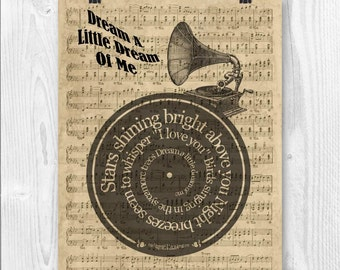 Dream a little dream of me Print,  Song lyrics in spiral over sheet music reproduction, Ella Fitzgerald, Wedding song, Wedding gift