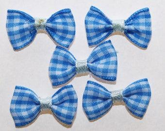 20 x gingham Plaid ribbon bow: Blue - 2372