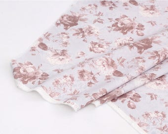 Brown Roses Printed Oxford Cotton By the yard (width 44 inches) 91398
