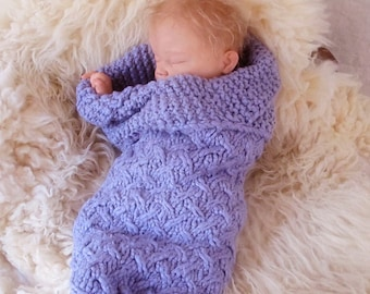 Lattice Baby Cocoon, Bunting for Newborns Knitting Pattern