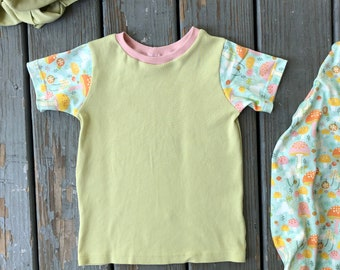 Upcycled shirt with organic sleeves