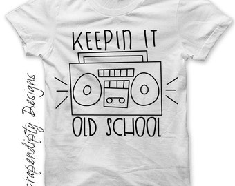 Rock and Roll Iron on Transfer - Boombox Shirt Music Tee / Kids Boys Clothes / Keepin it Old School Tshirt / Baby Ghetto Blaster Shirt IT171