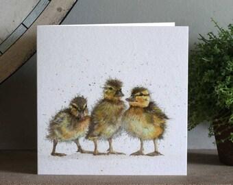 Three Ducklings Greeting Card, Blank inside, Barnyard, Watercolour, Bird and Animal Birthday Cards