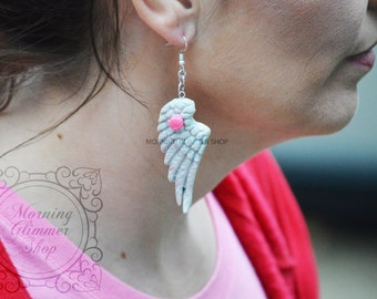 Angel Wings with Roses Polymer Clay Earrings