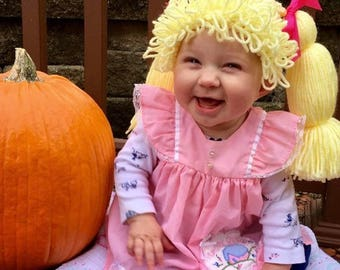 Cabbage Patch Costume, Cabbage Patch Kid Wig, Baby costume, Costumes for kids, Cabbage patch inspired hat, Dress up hats for kids, Baby Wigs