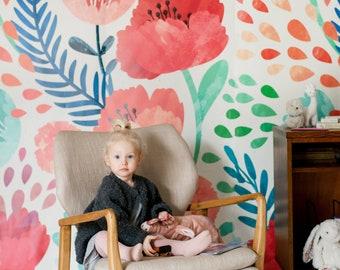 Crimson Poppy Mural - Floral Scene Wallpaper, Garden Mural