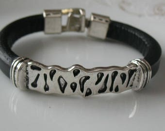 Bracelet-leather and silver bracelet 7 inch bracelet-black leather licorice leather-hook clasp