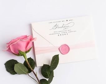 Custom Return Address Stamp, Self Ink Return Address Stamp, Wedding Return Address, Calligraphy Address Stamp Return Address Stamp No 120