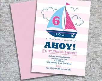 Nautical Sailboat Party Invitation – DIY Printable Personalized – Pink Girl (Digital File)