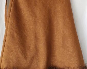 brown mini skirt with fringe---BWGF042115
