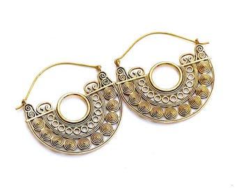 Boucles d'oreilles Laiton/tribal design/tribal style earrings/Brass boho earrings