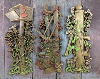 Vintage Burwood Products Plastic Country~Rustic Wall Decor~Set Of 3