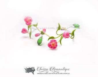 Bracelet Tulips Spring Spirit - Polymer Clay Flowers - Mothers Day Gift for Women Pink Gift For Her Flower Tulips